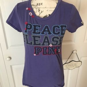 Victoria's Secret Pink embroidered tee. Size L
